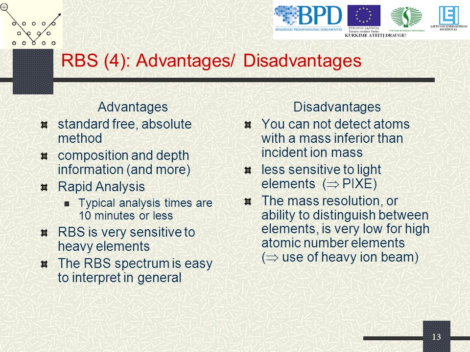 13 RBS (4): Advantages/ Disadvantages Advantages standard free, absolute method composition and depth information (and more) Rapid Analysis Typical analysis times are 10 minutes or less RBS is very sensitive to heavy elements The RBS spectrum is easy to interpret in general Disadvantages You can not detect atoms with a mass inferior than incident ion mass less sensitive to light elements (  PIXE) The mass resolution, or ability to distinguish between elements, is very low for high atomic number elements (  use of heavy ion beam)