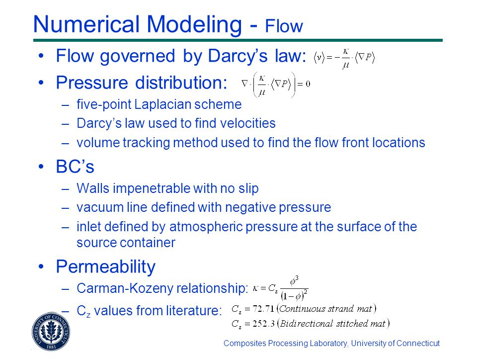 Composites Processing Laboratory, University of Connecticut Numerical Modeling - Flow Flow governed by Darcy's law: Pressure distribution: –five-point Laplacian scheme –Darcy's law used to find velocities –volume tracking method used to find the flow front locations BC's –Walls impenetrable with no slip –vacuum line defined with negative pressure –inlet defined by atmospheric pressure at the surface of the source container Permeability –Carman-Kozeny relationship: –C z values from literature: