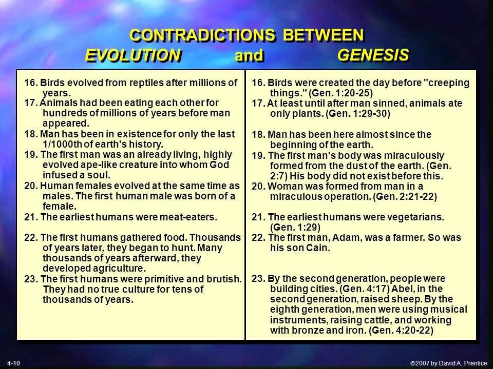  2007 by David A. Prentice CONTRADICTIONS BETWEEN EVOLUTION and GENESIS 16.