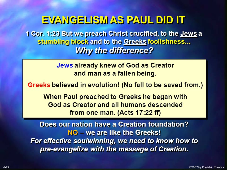  2007 by David A. Prentice EVANGELISM AS PAUL DID IT Jews already knew of God as Creator and man as a fallen being. Greeks believed in evolution! (N
