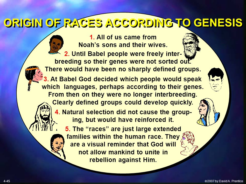  2007 by David A. Prentice ORIGIN OF RACES ACCORDING TO GENESIS 1.
