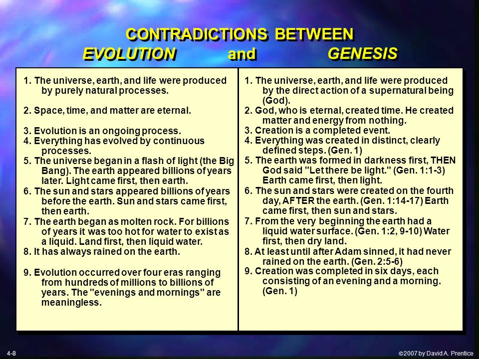  2007 by David A. Prentice CONTRADICTIONS BETWEEN EVOLUTION and GENESIS 1.