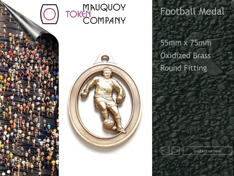 Football Medal 55mm x 75mm Oxidized Brass Round Fitting contact us now