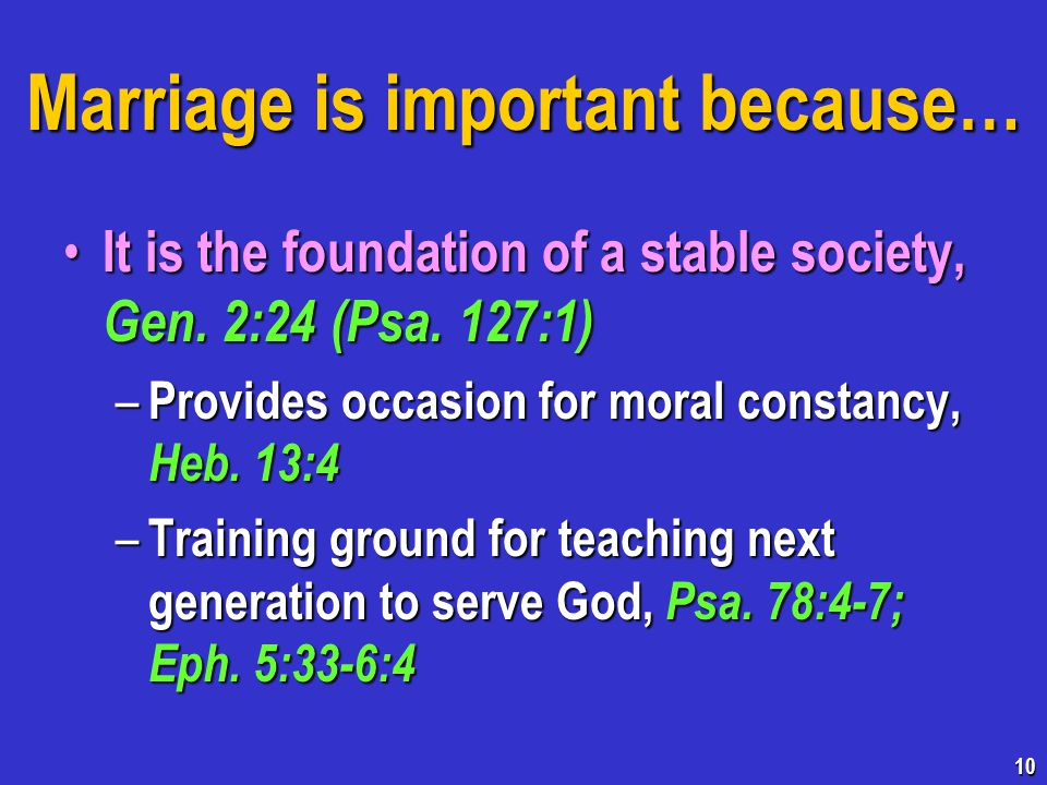 Marriage is important because… It is the foundation of a stable society, Gen.