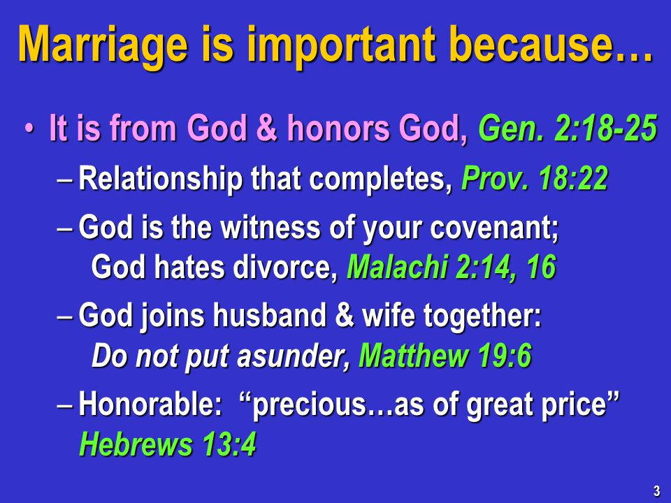 Marriage is important because… It is from God & honors God, Gen.
