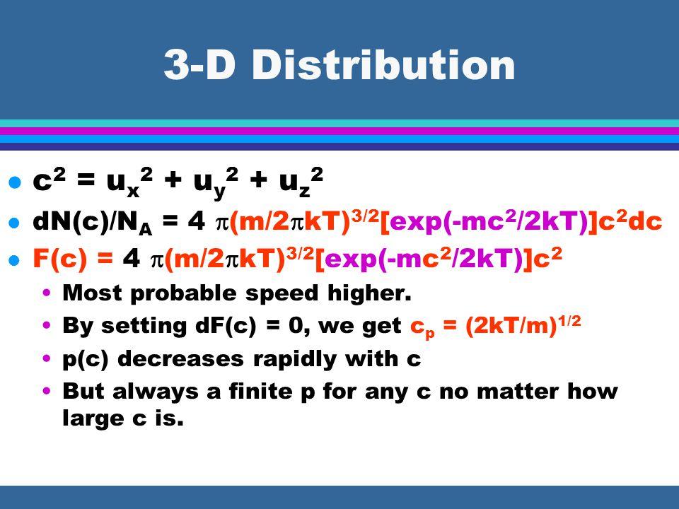 3-D Distribution l c 2 = u x 2 + u y 2 + u z 2 l dN(c)/N A = 4  (m/2  kT) 3/2 [exp(-mc 2 /2kT)]c 2 dc l F(c) = 4  (m/2  kT) 3/2 [exp(-mc 2 /2kT)]c 2 Most probable speed higher.