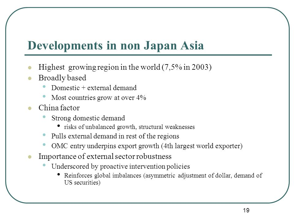 19 Developments in non Japan Asia Highest growing region in the world (7,5% in 2003) Broadly based Domestic + external demand Most countries grow at over 4% China factor Strong domestic demand risks of unbalanced growth, structural weaknesses Pulls external demand in rest of the regions OMC entry underpins export growth (4th largest world exporter) Importance of external sector robustness Underscored by proactive intervention policies Reinforces global imbalances (asymmetric adjustment of dollar, demand of US securities)
