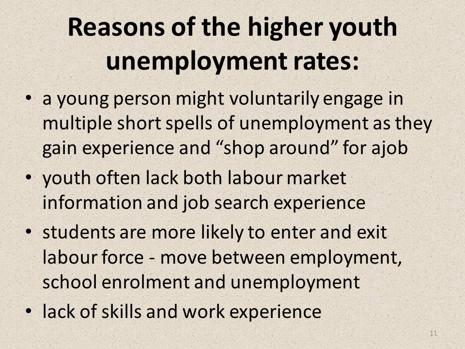 Reasons of the higher youth unemployment rates: a young person might voluntarily engage in multiple short spells of unemployment as they gain experience and shop around for ajob youth often lack both labour market information and job search experience students are more likely to enter and exit labour force - move between employment, school enrolment and unemployment lack of skills and work experience 11