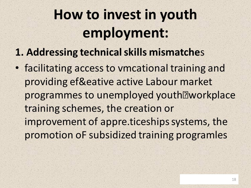How to invest in youth employment: 1.