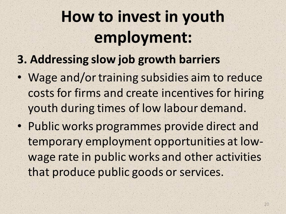 How to invest in youth employment: 3.
