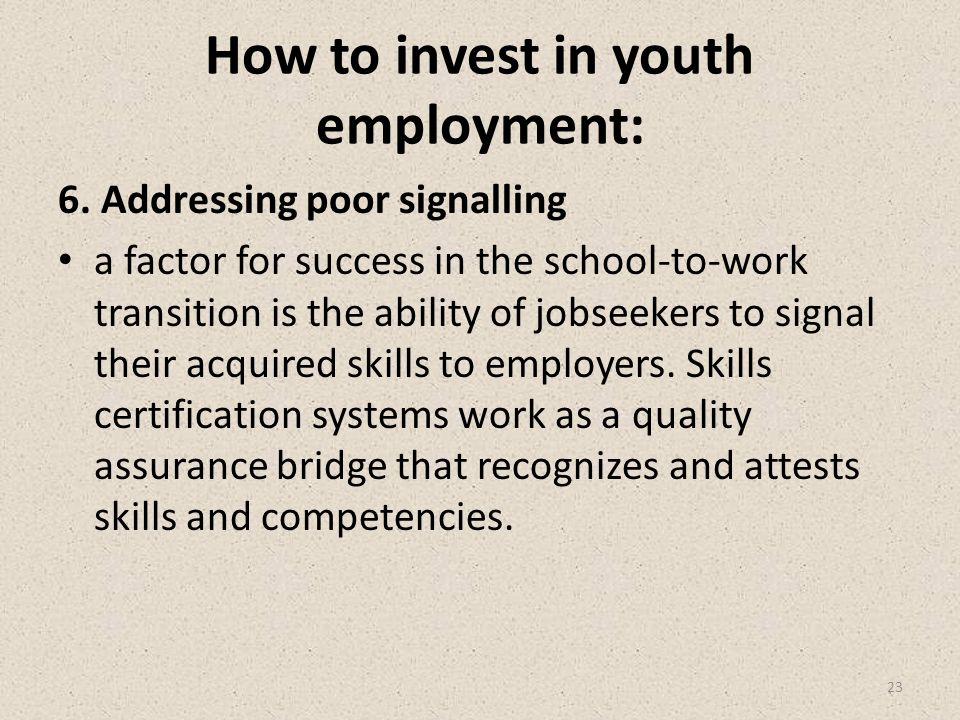 How to invest in youth employment: 6.
