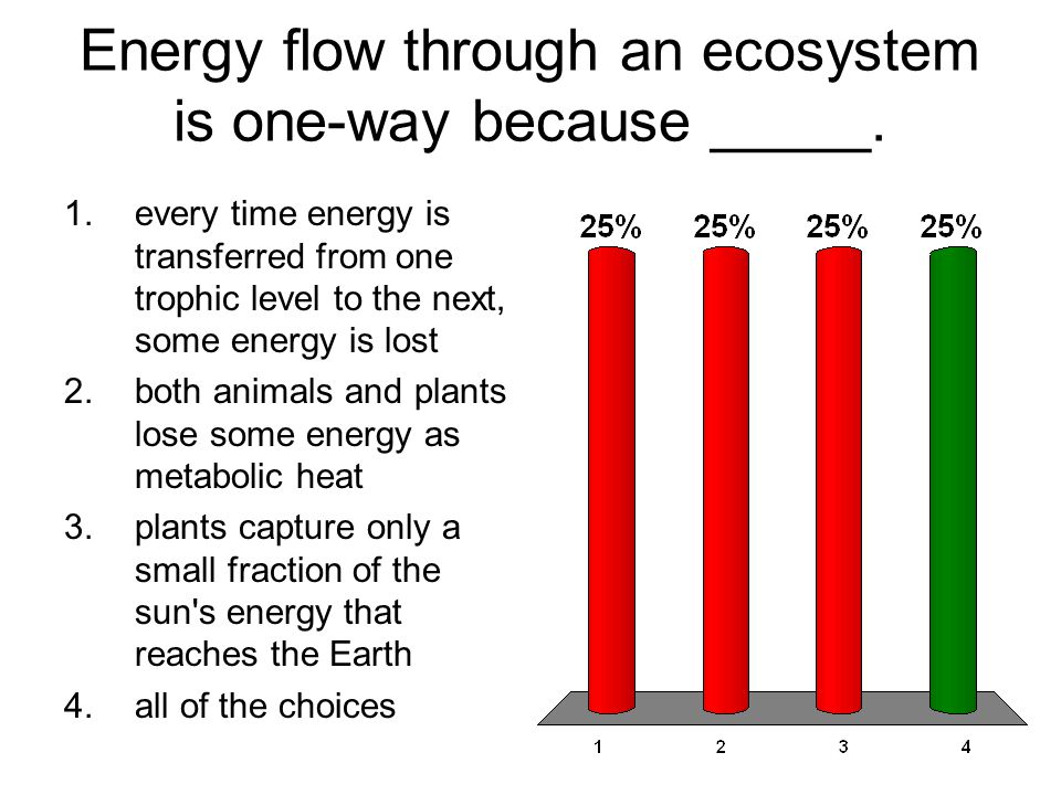 Energy flow through an ecosystem is one-way because _____. 1.every time energy is transferred from one trophic level to the next, some energy is lost