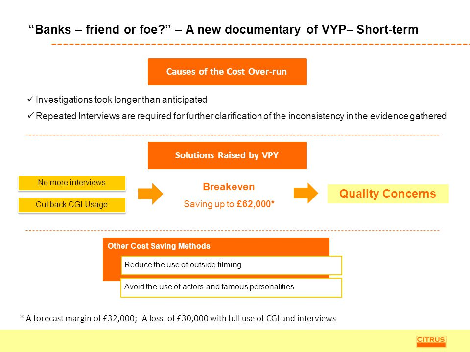 """""""Banks – friend or foe?"""" – A new documentary of VYP– Short-term Causes of the Cost Over-run Solutions Raised by VPY No more interviews Cut back CGI Us"""
