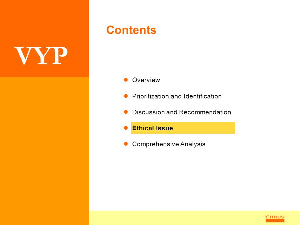 VYP Overview Prioritization and Identification Discussion and Recommendation Ethical Issue Comprehensive Analysis Contents