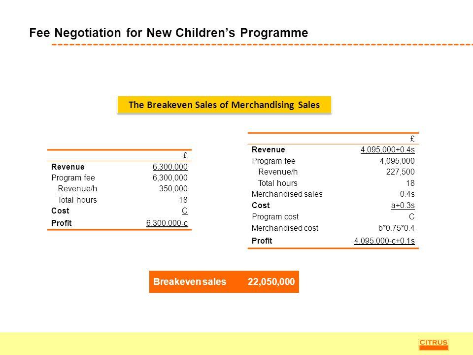 Fee Negotiation for New Children's Programme £ Revenue6,300,000 Program fee6,300,000 Revenue/h350,000 Total hours18 CostC Profit6,300,000-c £ Revenue4