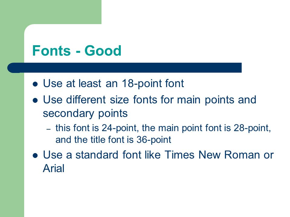 Do not use a distracting animation Do not go overboard with animations Slide Structure - Bad