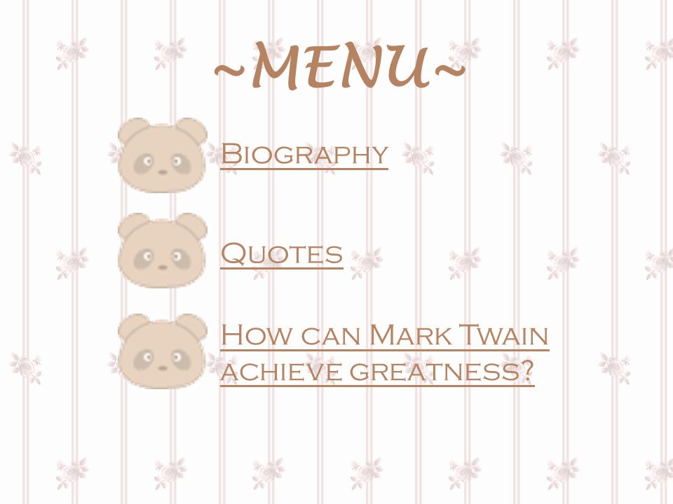 Biography Mark Twain (whose real name was Samuel Clemens), a well-known American writer, was born in Florida, Missouri, of a Virginian family on Nov.
