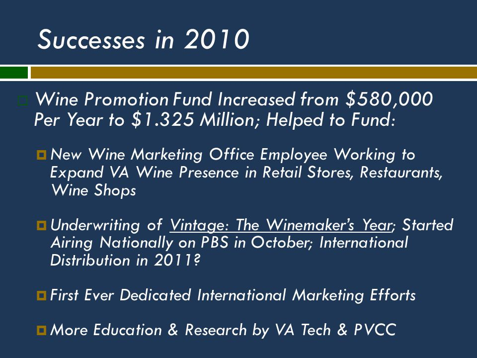 Successes in 2010  Wine Promotion Fund Increased from $580,000 Per Year to $1.325 Million; Helped to Fund:  New Wine Marketing Office Employee Working to Expand VA Wine Presence in Retail Stores, Restaurants, Wine Shops  Underwriting of Vintage: The Winemaker's Year; Started Airing Nationally on PBS in October; International Distribution in 2011.