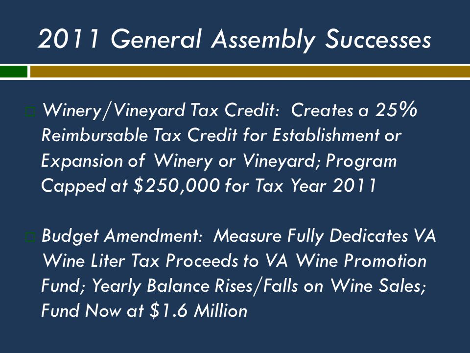 2011 General Assembly Successes  Winery/Vineyard Tax Credit: Creates a 25% Reimbursable Tax Credit for Establishment or Expansion of Winery or Vineyard; Program Capped at $250,000 for Tax Year 2011  Budget Amendment: Measure Fully Dedicates VA Wine Liter Tax Proceeds to VA Wine Promotion Fund; Yearly Balance Rises/Falls on Wine Sales; Fund Now at $1.6 Million