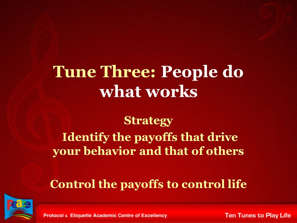 Tune Three: People do what works Strategy Identify the payoffs that drive your behavior and that of others Control the payoffs to control life
