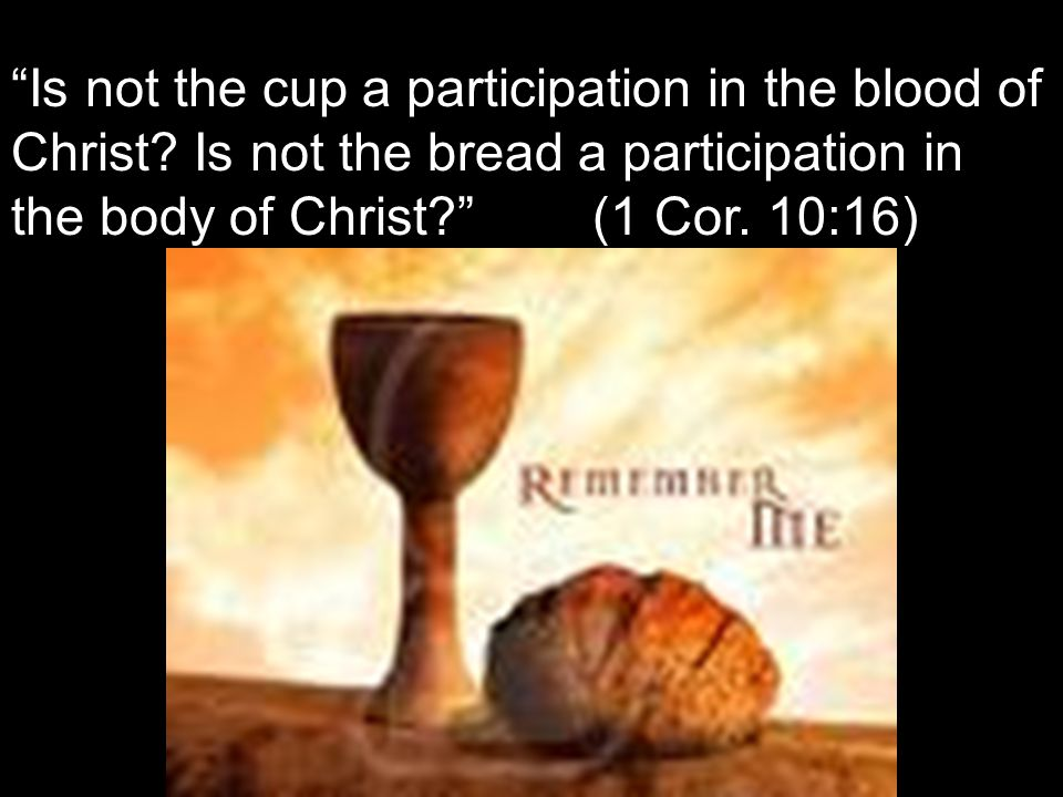 """Is not the cup a participation in the blood of Christ? Is not the bread a participation in the body of Christ?"" (1 Cor. 10:16)"