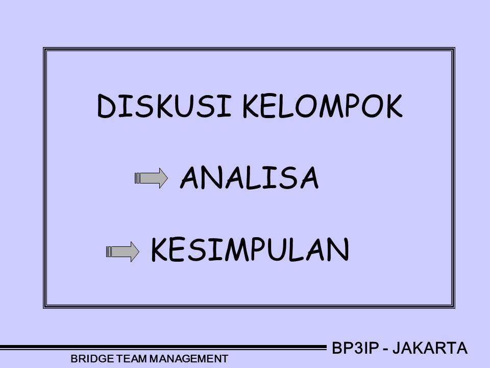 DISKUSI KELOMPOK ANALISA KESIMPULAN BP3IP - JAKARTA BRIDGE TEAM MANAGEMENT