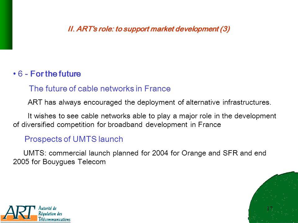 17 II. ART's role: to support market development (3) - For the future 6 - For the future The future of cable networks in France ART has always encoura