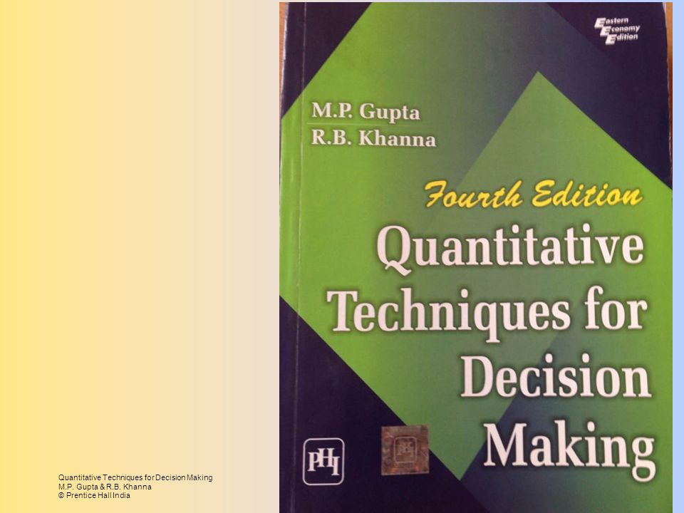 Quantitative Techniques for Decision Making M.P. Gupta & R.B. Khanna © Prentice Hall India Page 1