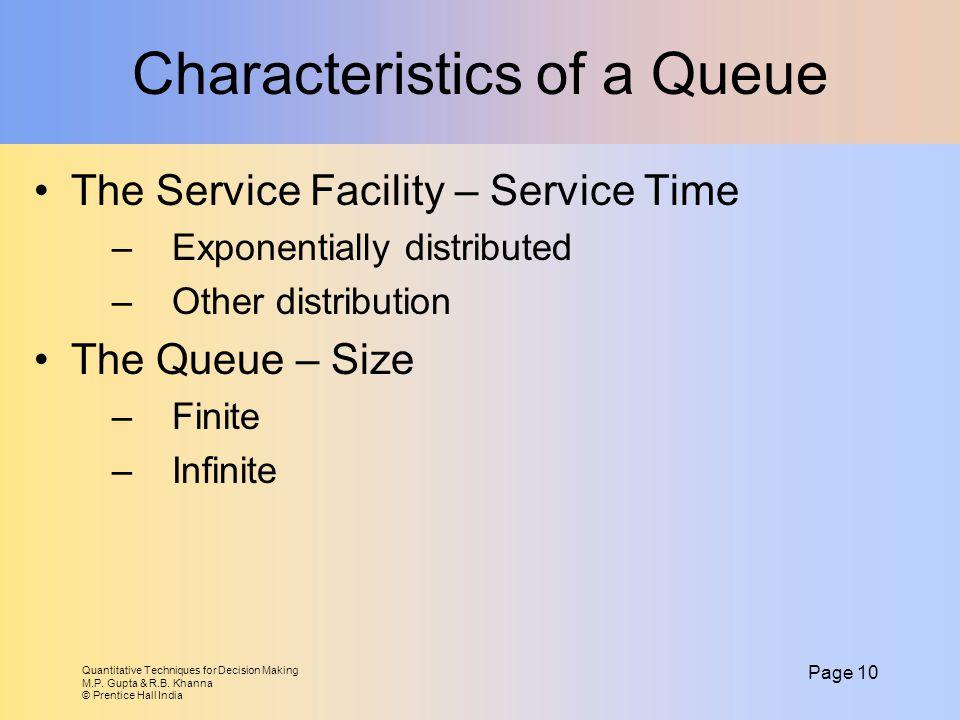 Quantitative Techniques for Decision Making M.P. Gupta & R.B. Khanna © Prentice Hall India Page 10 Characteristics of a Queue The Service Facility – S