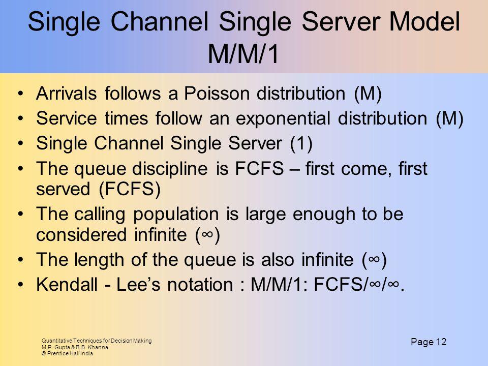 Quantitative Techniques for Decision Making M.P. Gupta & R.B. Khanna © Prentice Hall India Page 12 Single Channel Single Server Model M/M/1 Arrivals f