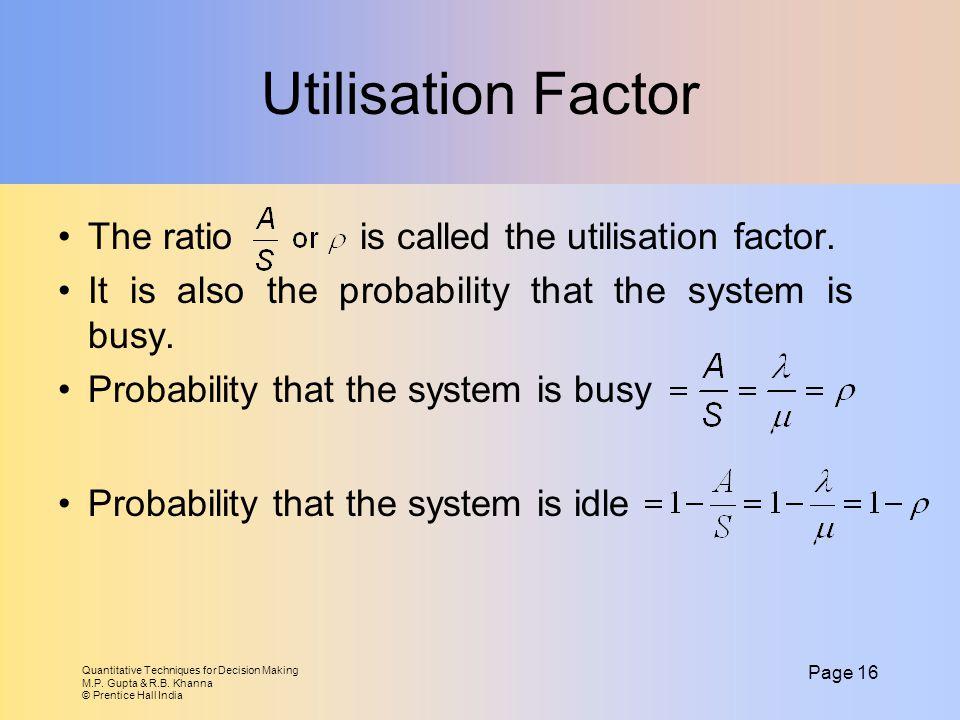 Quantitative Techniques for Decision Making M.P. Gupta & R.B. Khanna © Prentice Hall India Page 16 Utilisation Factor The ratio is called the utilisat