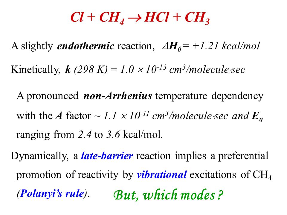 Cl + CH 4  HCl + CH 3 A slightly endothermic reaction,  H 0 = +1.21 kcal/mol Kinetically, k (298 K) = 1.0  10 -13 cm 3 /molecule  sec A pronounced non-Arrhenius temperature dependency with the A factor ~ 1.1  10 -11 cm 3 /molecule  sec and E a ranging from 2.4 to 3.6 kcal/mol.