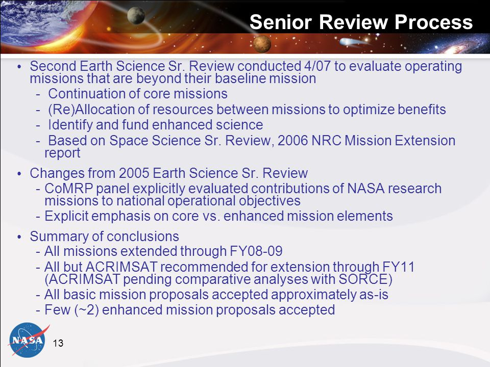 13 Senior Review Process Second Earth Science Sr.