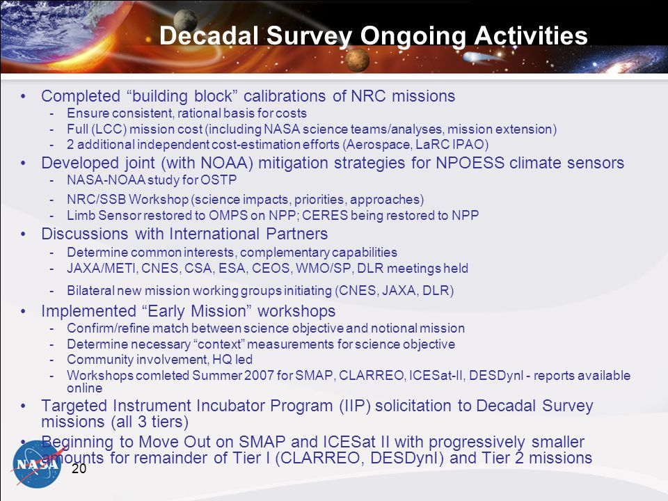 20 Decadal Survey Ongoing Activities Completed building block calibrations of NRC missions -Ensure consistent, rational basis for costs -Full (LCC) mission cost (including NASA science teams/analyses, mission extension) -2 additional independent cost-estimation efforts (Aerospace, LaRC IPAO) Developed joint (with NOAA) mitigation strategies for NPOESS climate sensors -NASA-NOAA study for OSTP -NRC/SSB Workshop (science impacts, priorities, approaches) -Limb Sensor restored to OMPS on NPP; CERES being restored to NPP Discussions with International Partners -Determine common interests, complementary capabilities -JAXA/METI, CNES, CSA, ESA, CEOS, WMO/SP, DLR meetings held -Bilateral new mission working groups initiating (CNES, JAXA, DLR) Implemented Early Mission workshops -Confirm/refine match between science objective and notional mission -Determine necessary context measurements for science objective -Community involvement, HQ led -Workshops comleted Summer 2007 for SMAP, CLARREO, ICESat-II, DESDynI - reports available online Targeted Instrument Incubator Program (IIP) solicitation to Decadal Survey missions (all 3 tiers) Beginning to Move Out on SMAP and ICESat II with progressively smaller amounts for remainder of Tier I (CLARREO, DESDynI) and Tier 2 missions