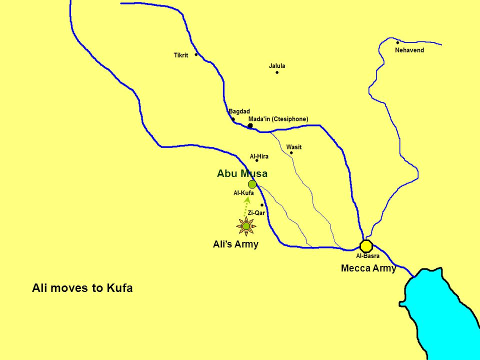Abu Musa Mecca Army Ali's Army Ali moves to Kufa