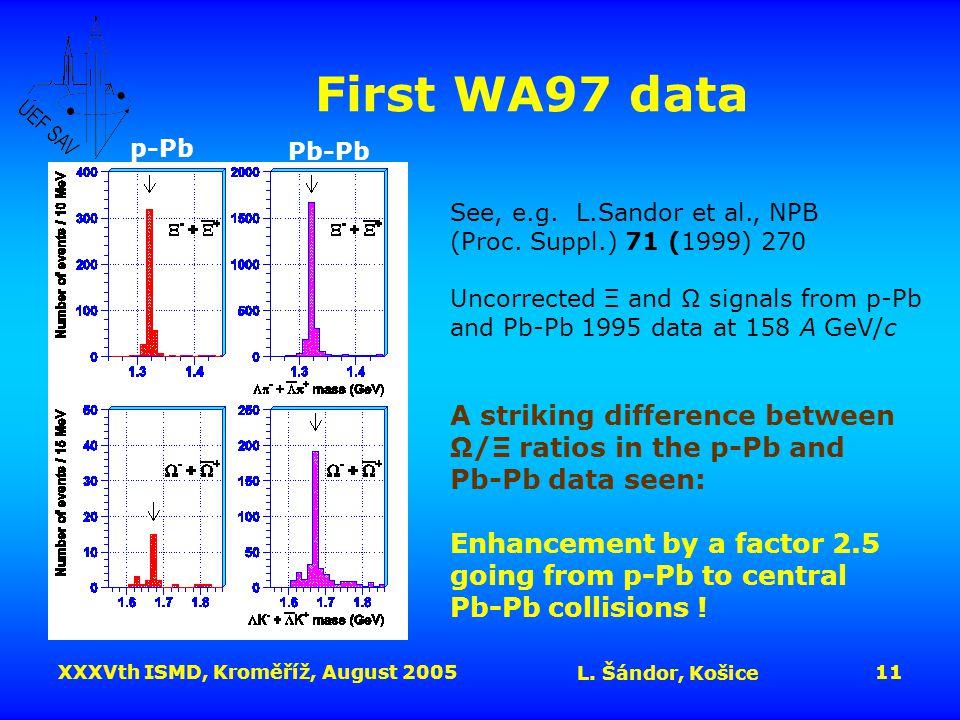 XXXVth ISMD, Kroměříž, August 2005 L.Šándor, Košice 11 First WA97 data See, e.g.