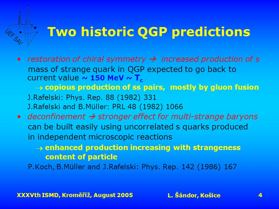XXXVth ISMD, Kroměříž, August 2005 L. Šándor, Košice 4 Two historic QGP predictions restoration of chiral symmetry  increased production of s mass of