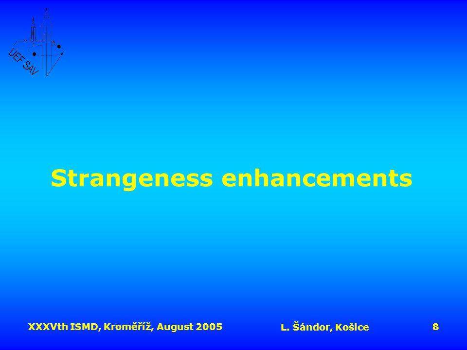 XXXVth ISMD, Kroměříž, August 2005 L. Šándor, Košice 8 Strangeness enhancements