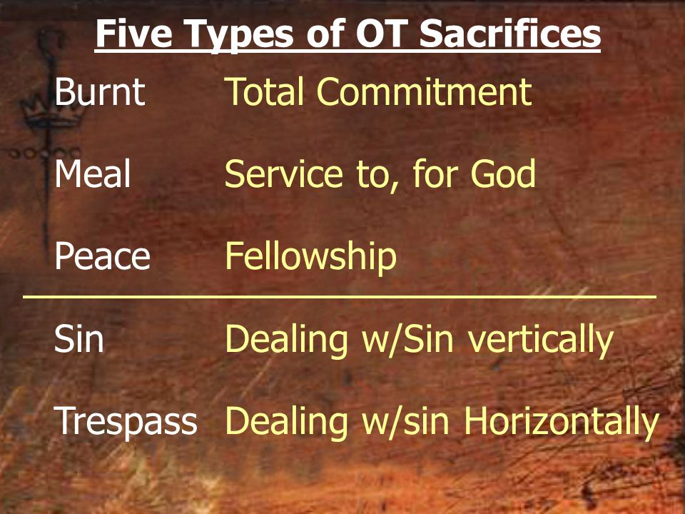 Burnt Meal Peace Sin Trespass Total Commitment Service to, for God Fellowship Dealing w/Sin vertically Dealing w/sin Horizontally Five Types of OT Sac