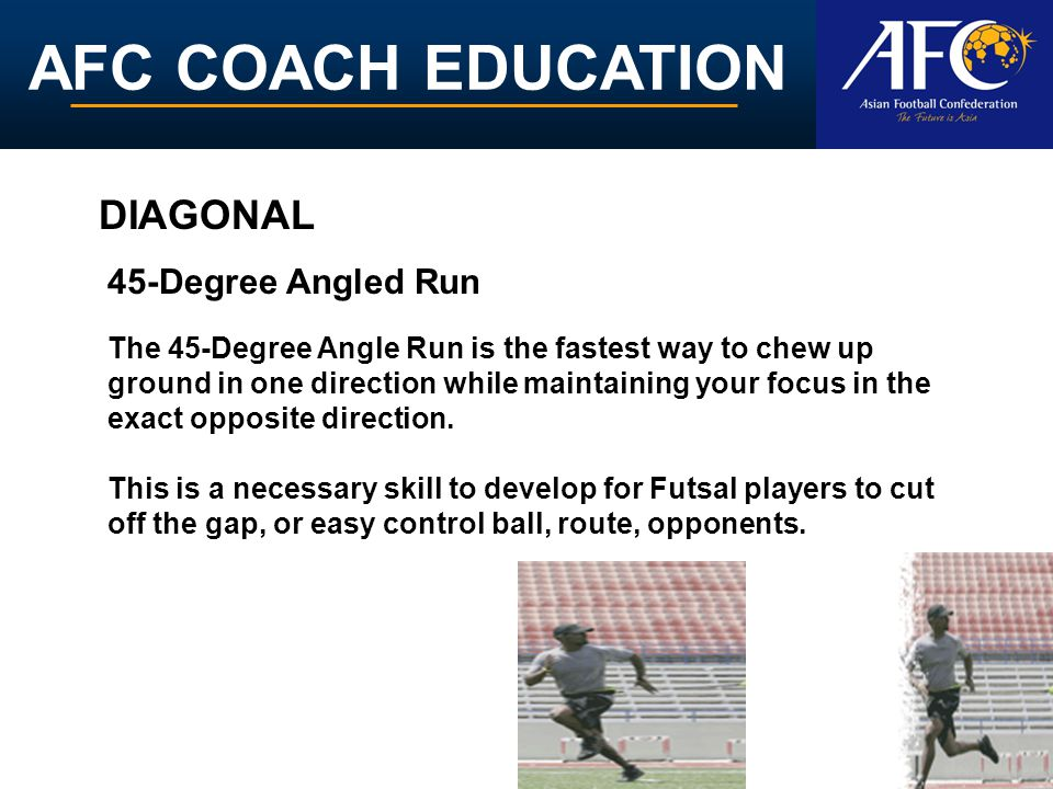AFC COACH EDUCATION The 45-Degree Angle Run is the fastest way to chew up ground in one direction while maintaining your focus in the exact opposite direction.