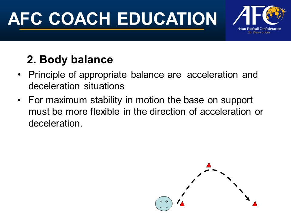 AFC COACH EDUCATION 2. Body balance Principle of appropriate balance are acceleration and deceleration situations For maximum stability in motion the