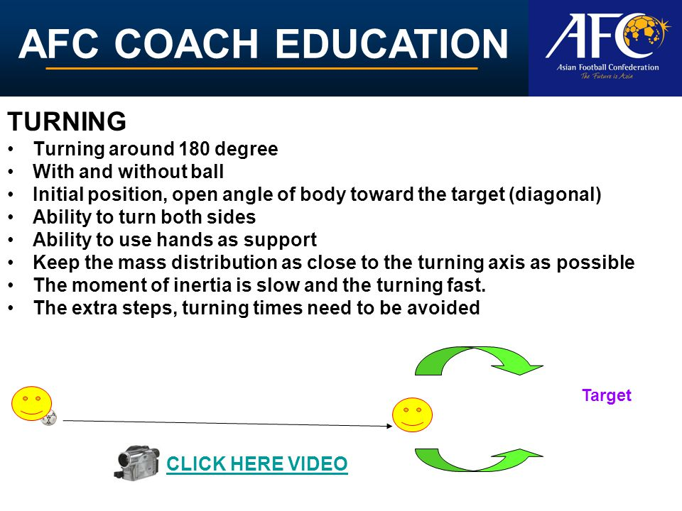 AFC COACH EDUCATION TURNING Turning around 180 degree With and without ball Initial position, open angle of body toward the target (diagonal) Ability