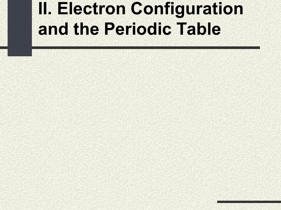II. Electron Configuration and the Periodic Table
