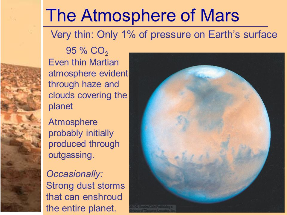 The Atmosphere of Mars Very thin: Only 1% of pressure on Earth's surface 95 % CO 2 Even thin Martian atmosphere evident through haze and clouds coveri