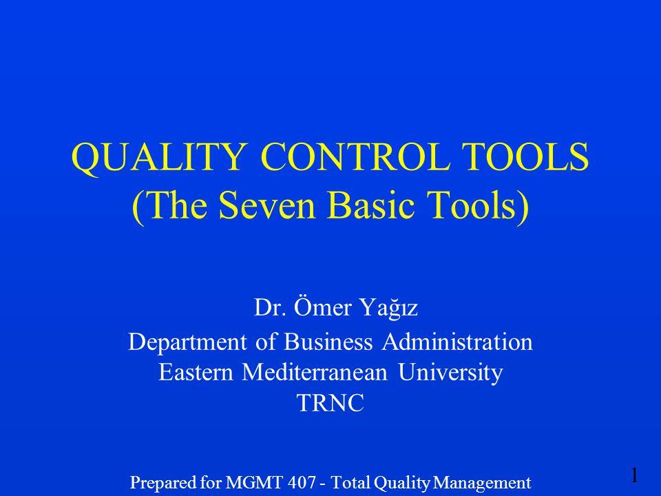 1 QUALITY CONTROL TOOLS (The Seven Basic Tools) Dr. Ömer Yağız Department of Business Administration Eastern Mediterranean University TRNC Prepared fo