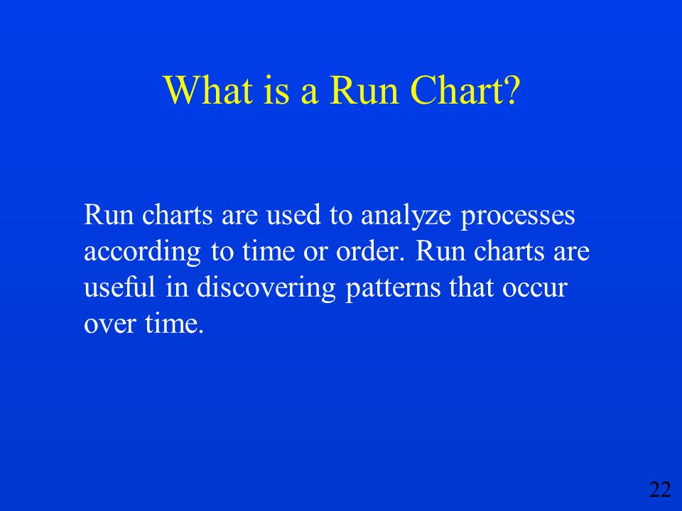 22 What is a Run Chart? Run charts are used to analyze processes according to time or order. Run charts are useful in discovering patterns that occur