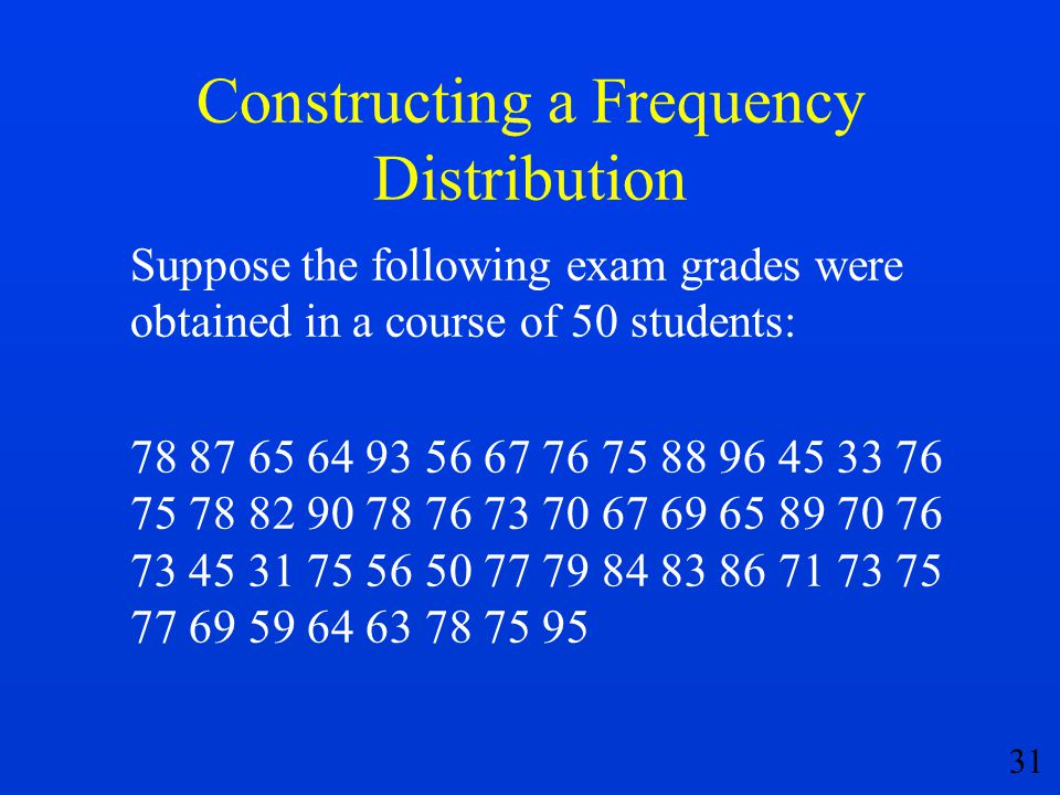 31 Constructing a Frequency Distribution Suppose the following exam grades were obtained in a course of 50 students: 78 87 65 64 93 56 67 76 75 88 96