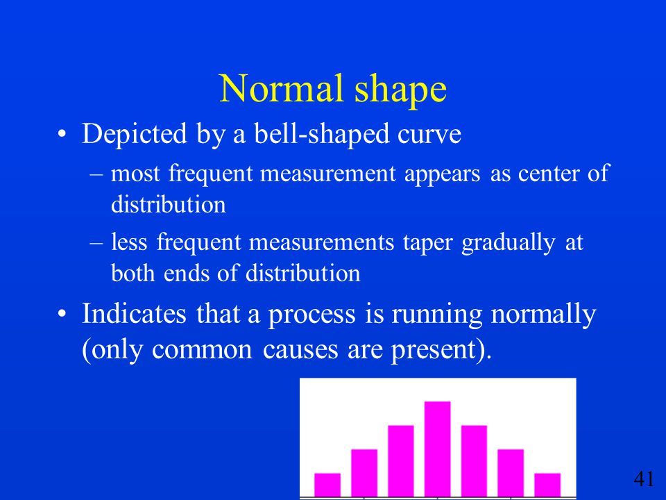 41 Normal shape Depicted by a bell-shaped curve –most frequent measurement appears as center of distribution –less frequent measurements taper gradual
