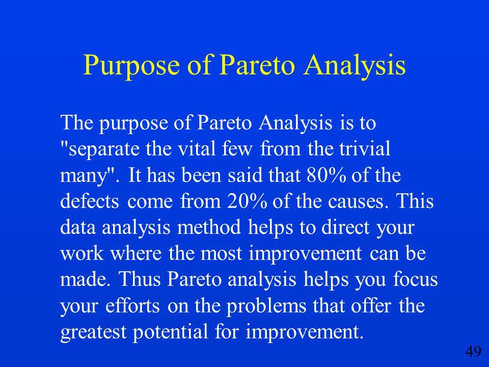 49 Purpose of Pareto Analysis The purpose of Pareto Analysis is to