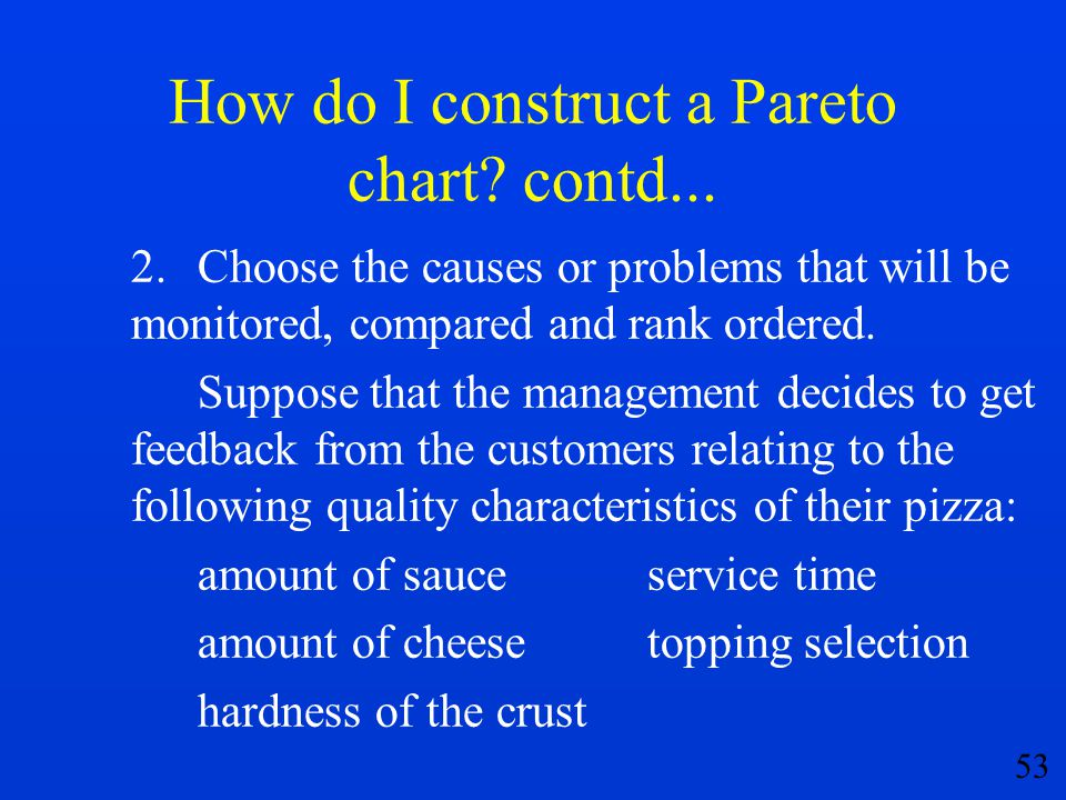 53 How do I construct a Pareto chart? contd... 2.Choose the causes or problems that will be monitored, compared and rank ordered. Suppose that the man